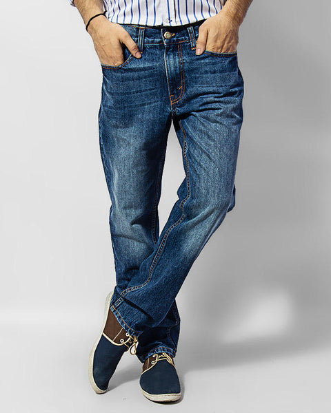 March Medium Blue Whisker Jeans For Men
