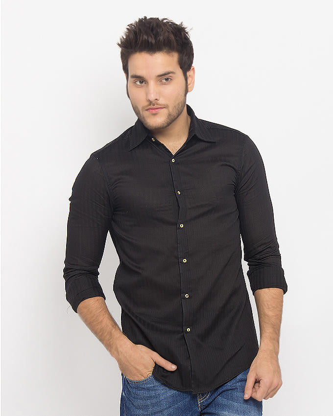 March Black Self Stripe Fine Shirt For Men