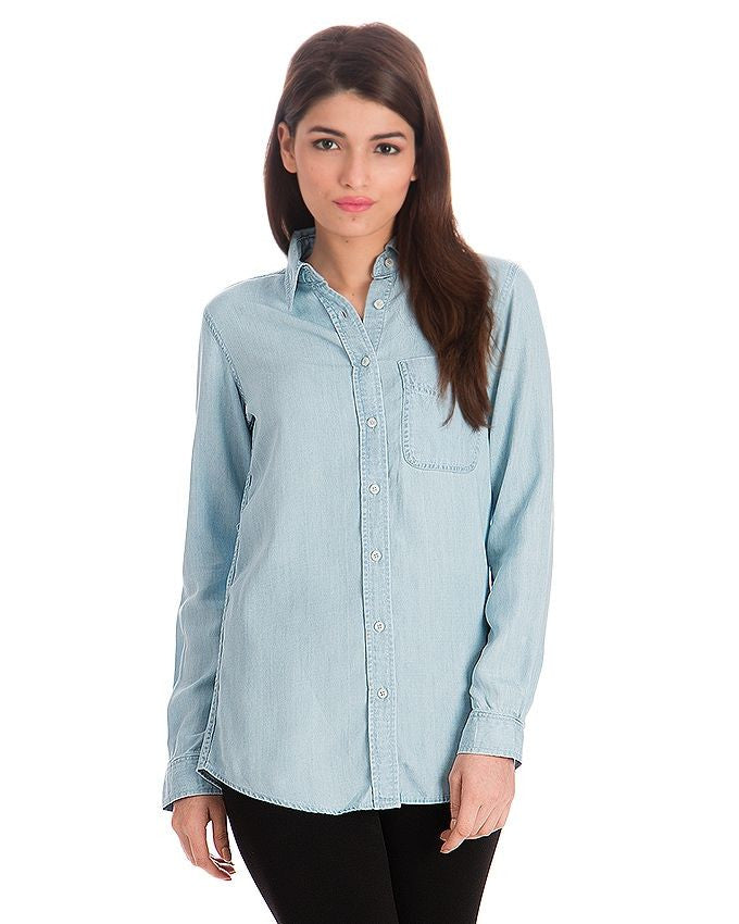 March Ice Blue Silky Tencel Denim Button-down Shirt for Women