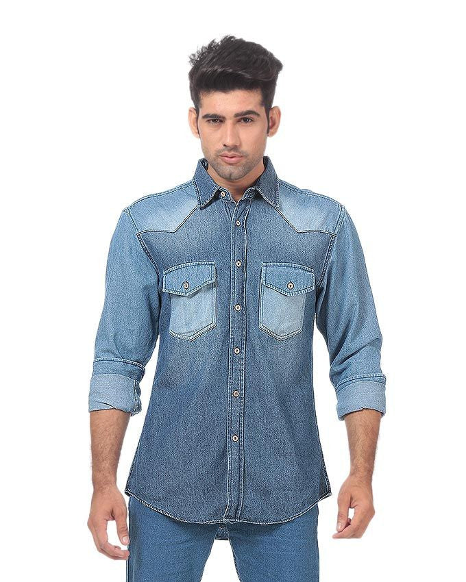 March Denim Button Down Shirt with Contrast Pockets & Yoke with Wooden Buttons for Men