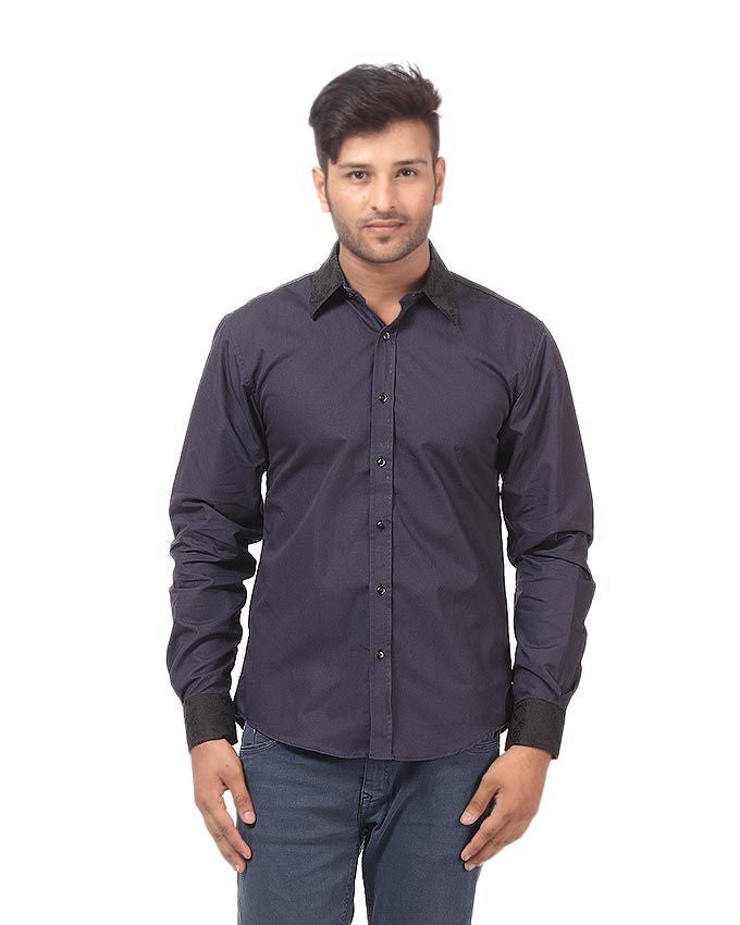 March Voilet Cotton Shirt W Black Floral Collar & Cuffs and Slate Buttons for Men