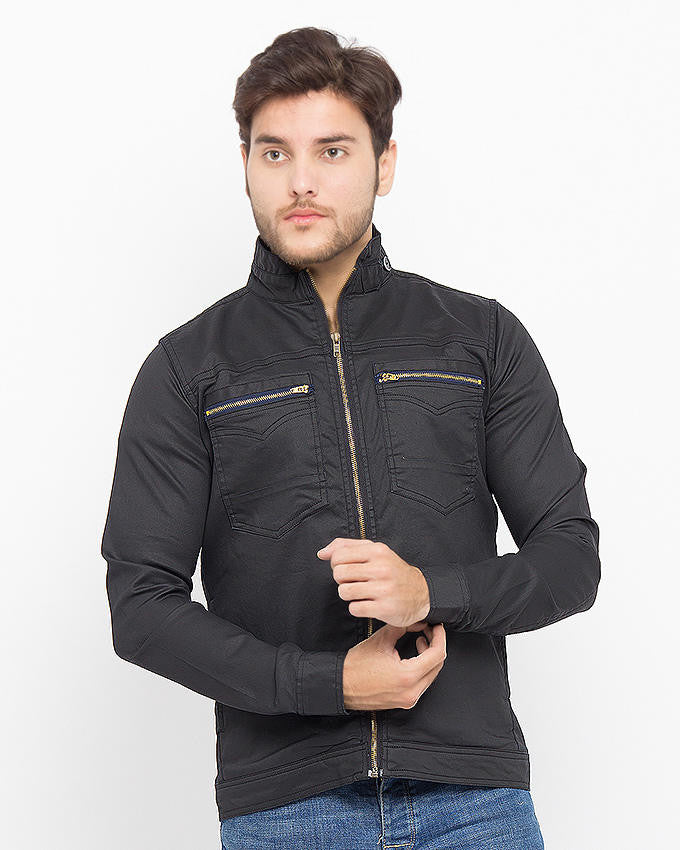 March Black Coated Denim Jacket with Collar Loop for Men