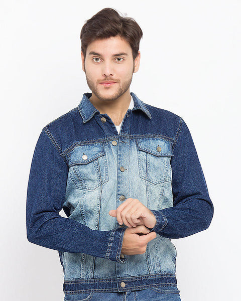 Two-Tone Denim Jacket With Silver Buttons for Men