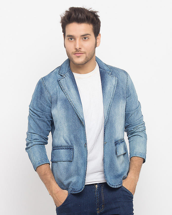 March Light Wash Denim Coat with Frosting for Men