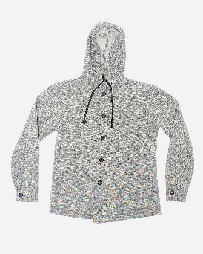 March Gray Knit Front Open Hoodie for Boys