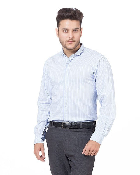 March Soft Blue Brushed Cotton Striped Shirt for Men