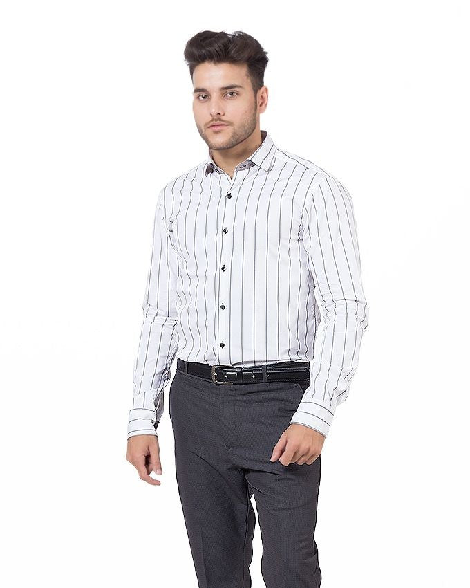 March White Cotton Shirt with Grey Stripes for Men