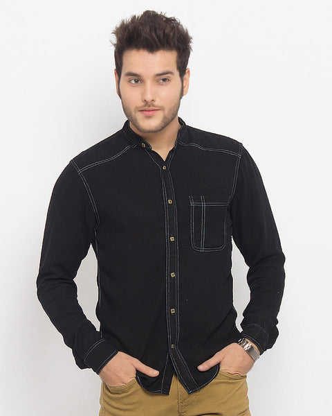 March Black Super Soft Tencel Denim Shirt with Brass Buttons for Men