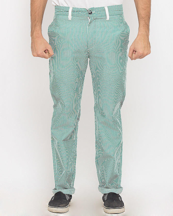 March Green Striped Golf Pants For Men