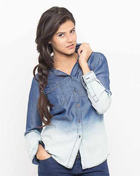 March Denim Button Down Shirt with Dip Wash for Women