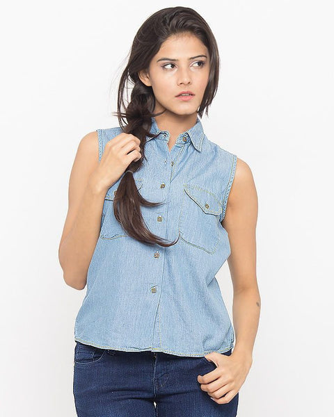 March Light Blue Denim Short Button-down Cropped Shirt W/ Pocket for Women