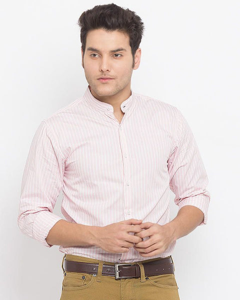 March Pink Cotton Striped Shirt with Band Collar for Men