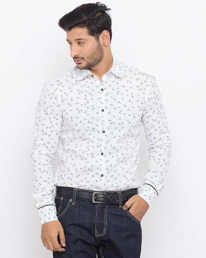 March White Super Fine Cotton Shirt with Origami Bird Print for Men