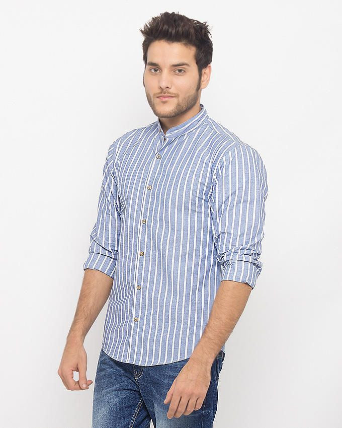 March Oxford Blue & White Stripe Shirt With Band Collar & Wooden Buttons For Men