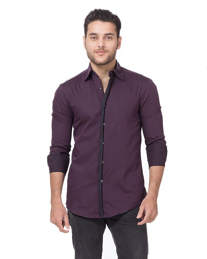 March Purple Self Stripes Shirt with Black Contrast for Men