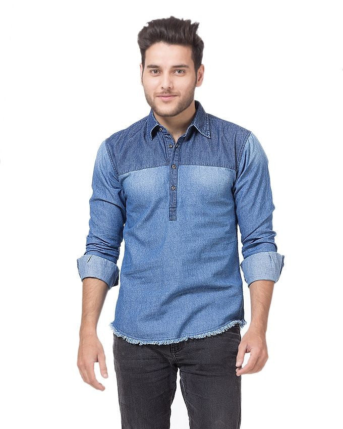 March Denim Two Tone Eastern Shirt with Dark Yoke for Men