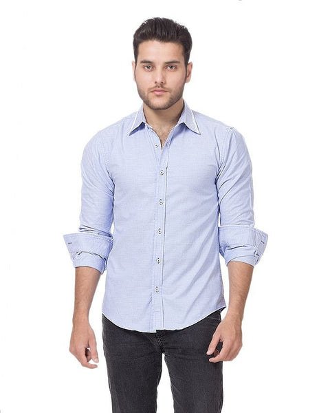 March Blue Oxford Cotton Shirt with White Piping on Collar & Cuffs for Men