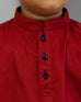 March Burnt Red Kurta W Blue Contrast for Boys