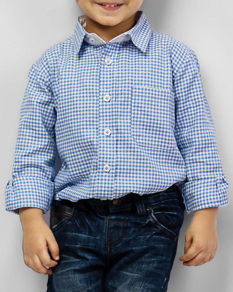 March Blue Picnic Mat Checkered Shirt for Boys