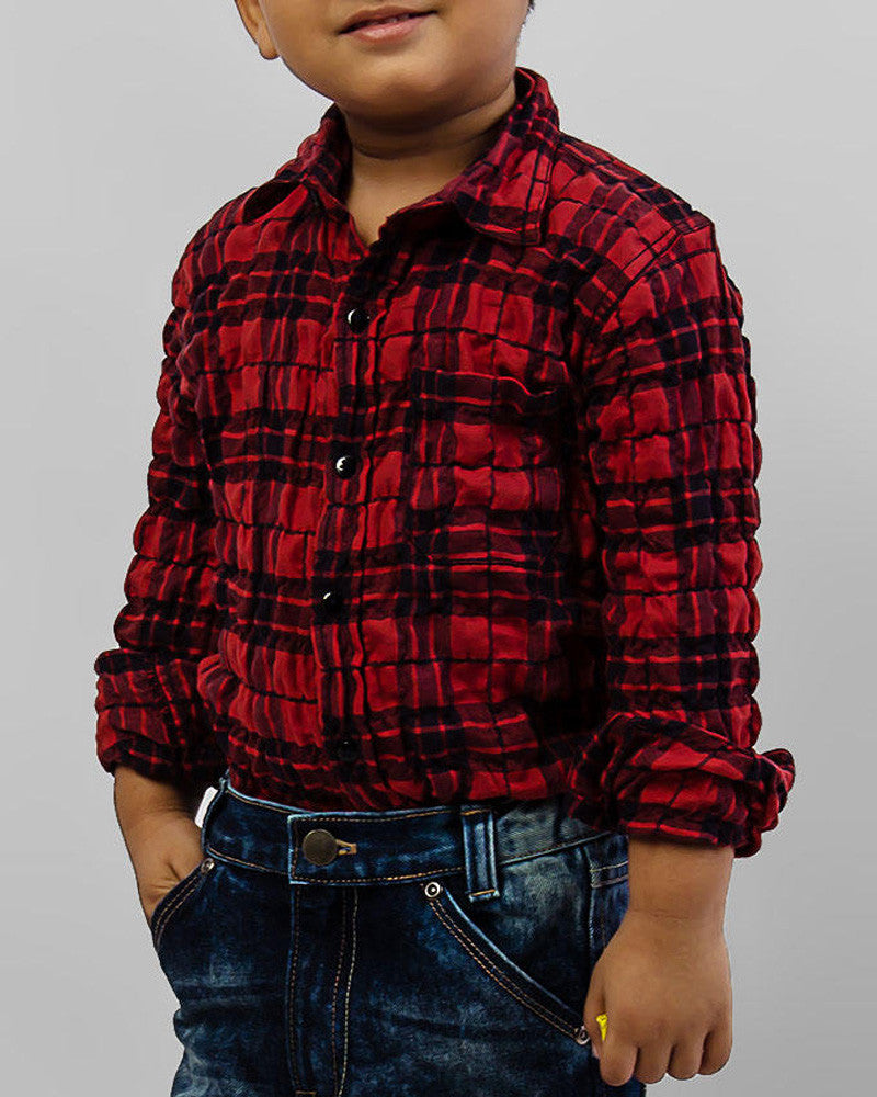 March Red Checkered Crinkle Cotton Shirt for Boys