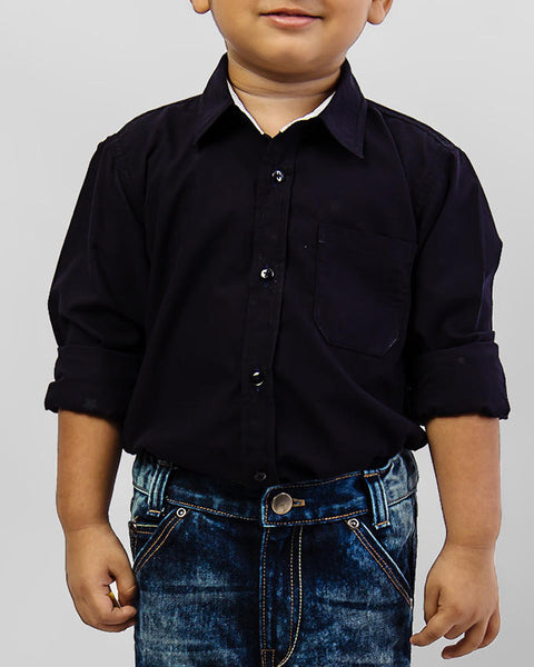 March Dark Blue Stars Shirt for Boys