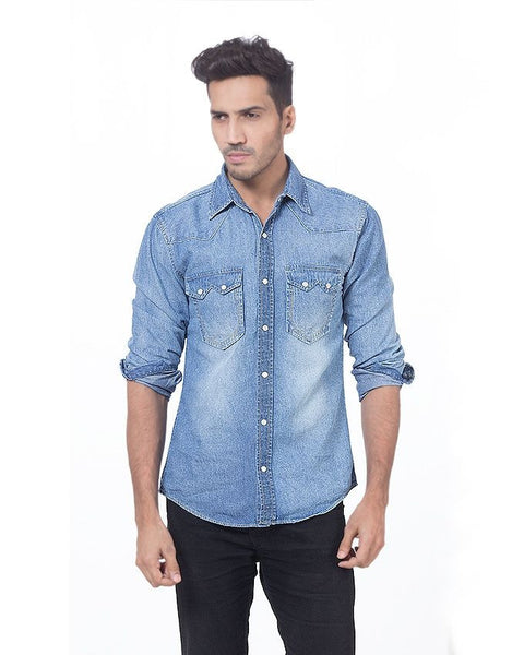 March Medium Blue Denim Shirt with Snap Buttons for Men
