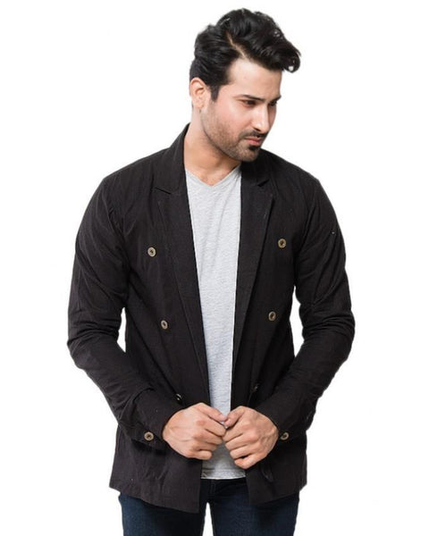 March Black Linen Party Coat with Brass Buttons for Men