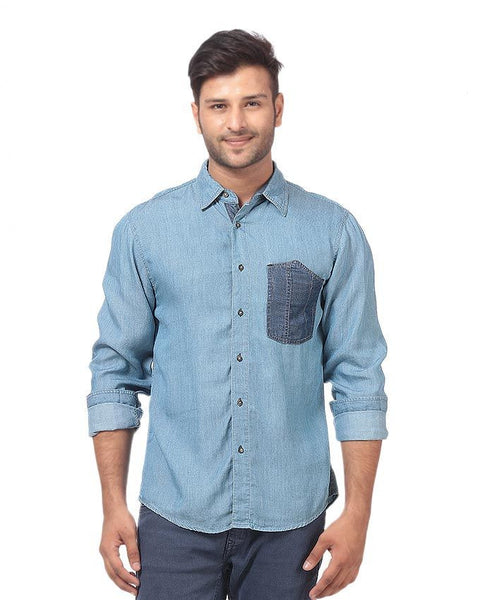 March Lite Denim Pre-Washed Shirt with Dark Patch Pocket for Men
