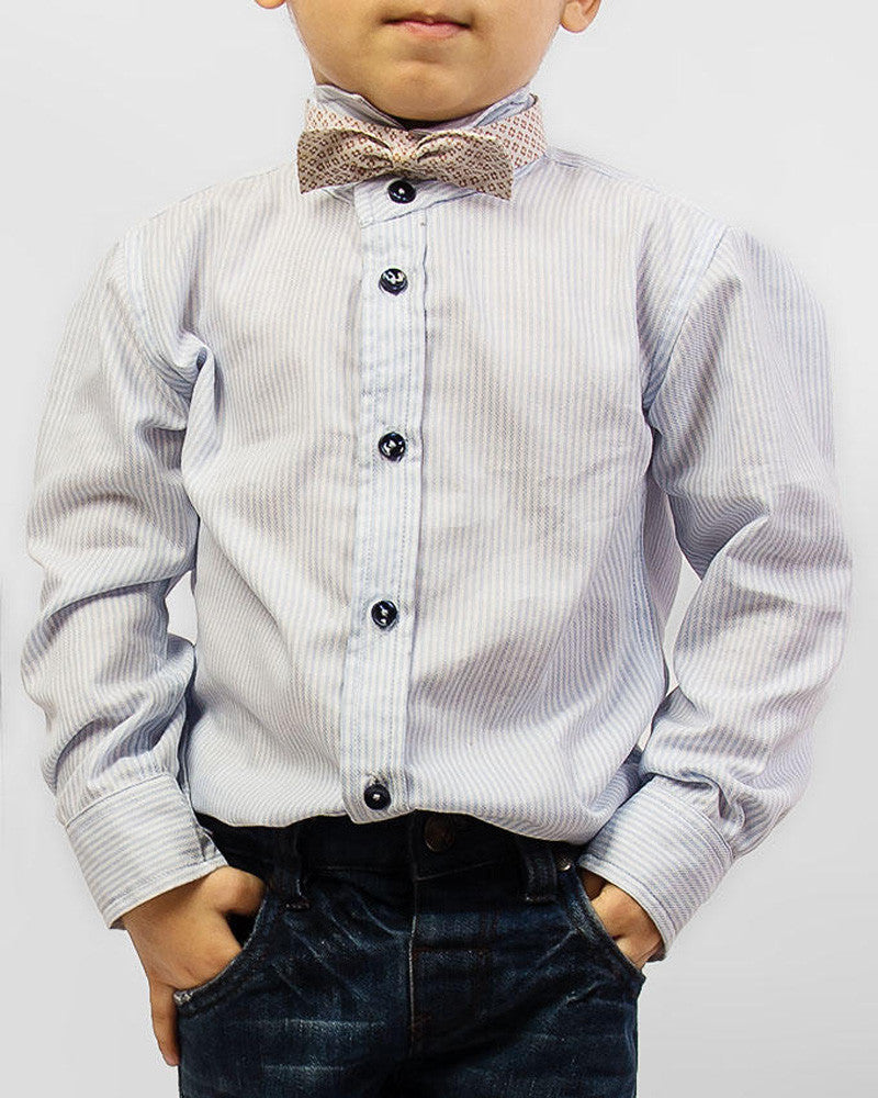 March Tux Style Blue Striped Shirt for Boy