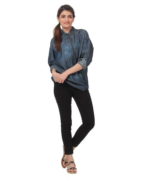 Dark Blue Tencel Denim Paneled Shirt