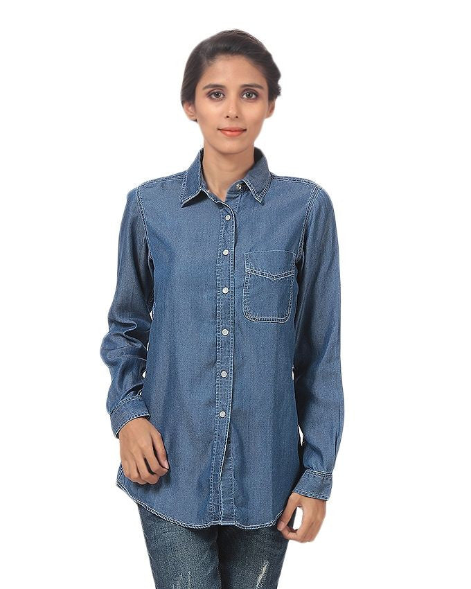 March Dark Blue Silky Tencel Denim Button-down Shirt with White Snap Buttons for Women