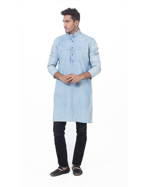 March Denim Mao Collar Kurta in Ice Wash For Men