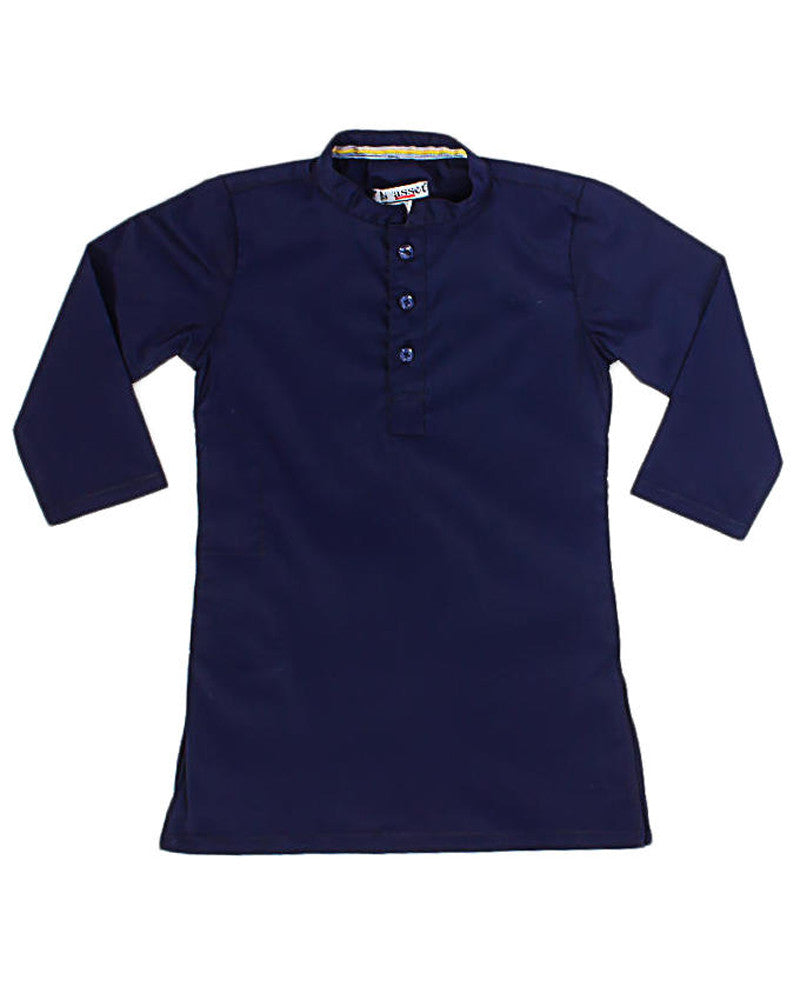 March Navy Blue Stretchable Cotton Kurta for Boys
