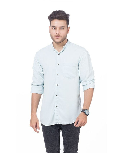 March Very Light Green Super Soft Tencel Denim Shirt with Metal Buttons for Men