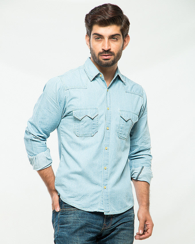 March Ice Blue Denim Shirt with Two Front Flap Pockets & Off-White Buttons for Men