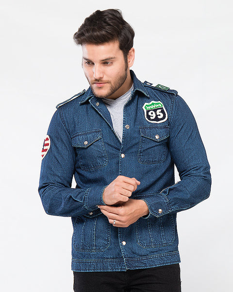 March Dark Denim Spy Jacket W Shiny Buttons & 4 Pockets for Men