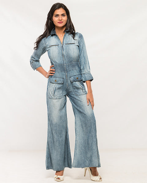 Nurai Light Denim W Frosting Jumpsuit for Women