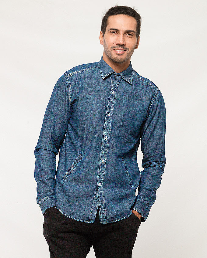 March Blue Denim Buttondown Shirt W Side Zips for Men