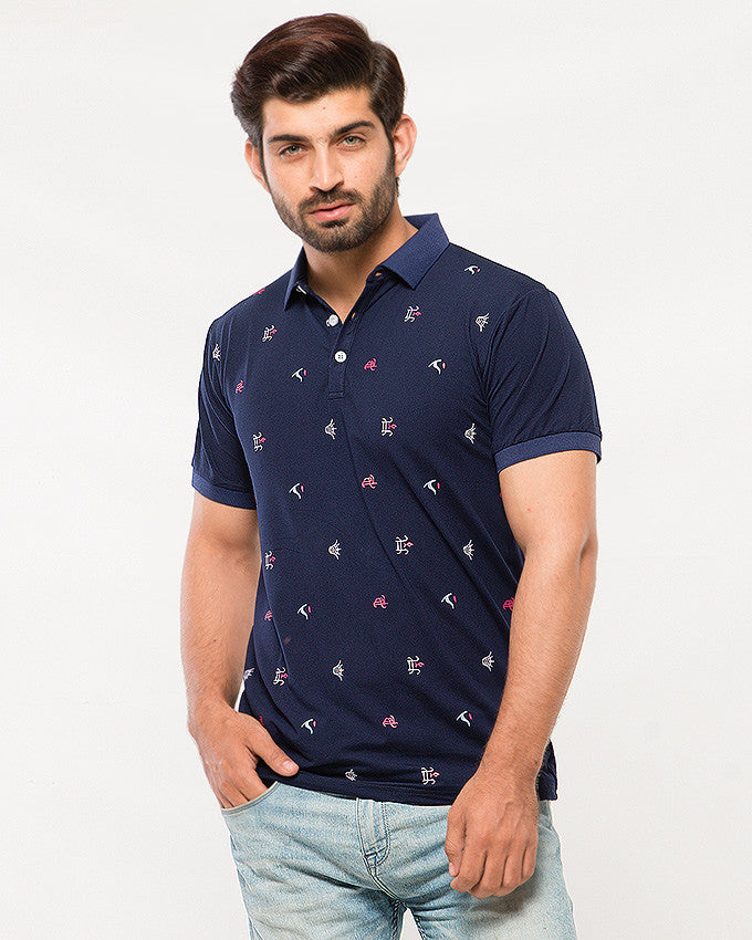 March Dark Blue Stretchy Polo Shirt with Red & White Symbols for Men
