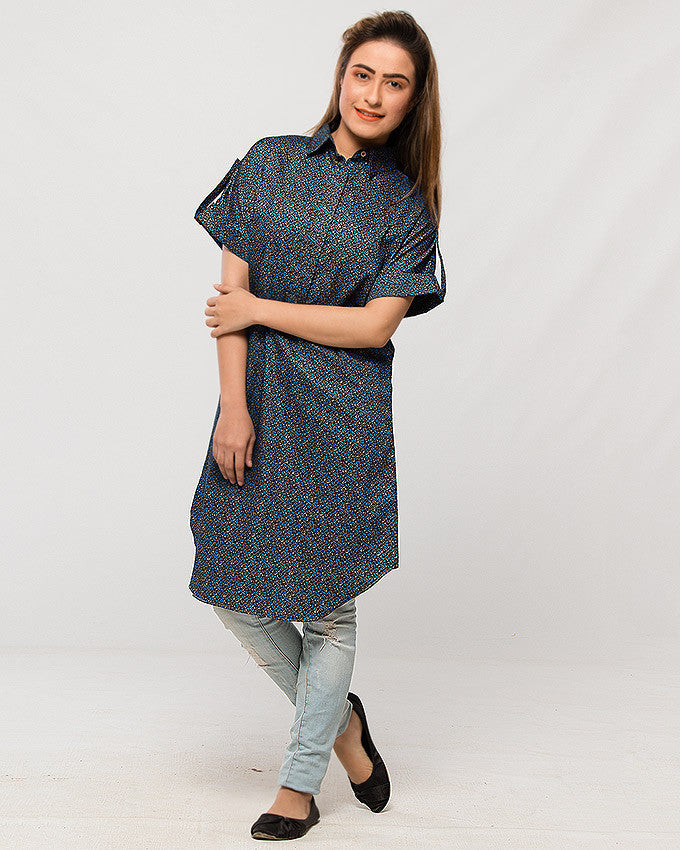 Nurai Printed Blue Long Shirt in Italian Cotton w Mega Sleeves for Women