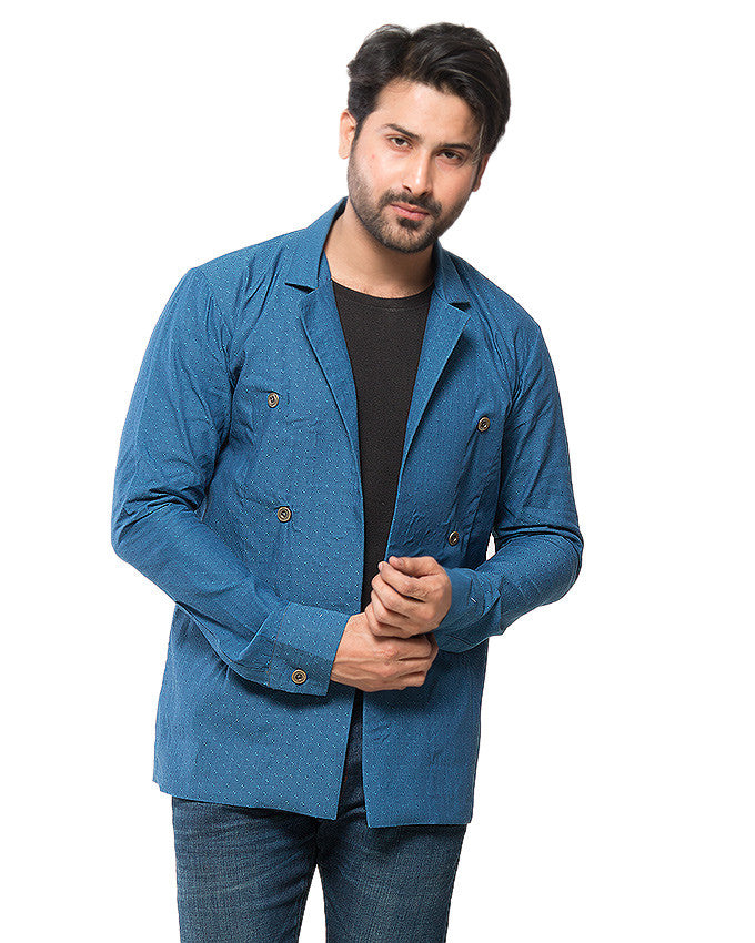March Blue Textured Linen Party Coat with Brass Buttons for Men