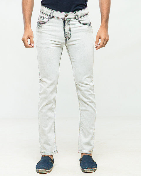 March White Straight Leg Stretch Jeans W Gray Acid Finish on Pockets for Men