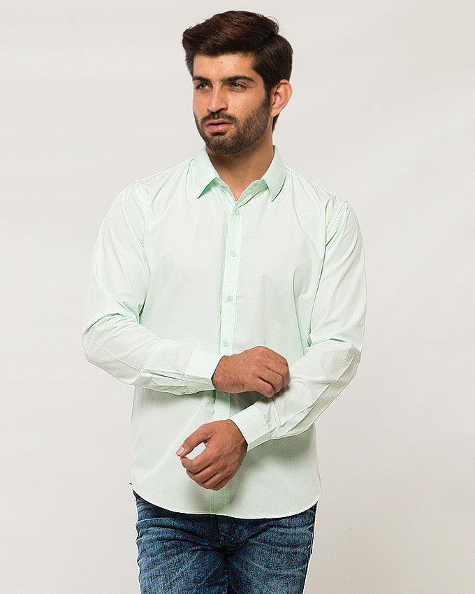 March Lite Pistachio Shirt W Green & White Checkered Inside Collar and Cuffs for Men