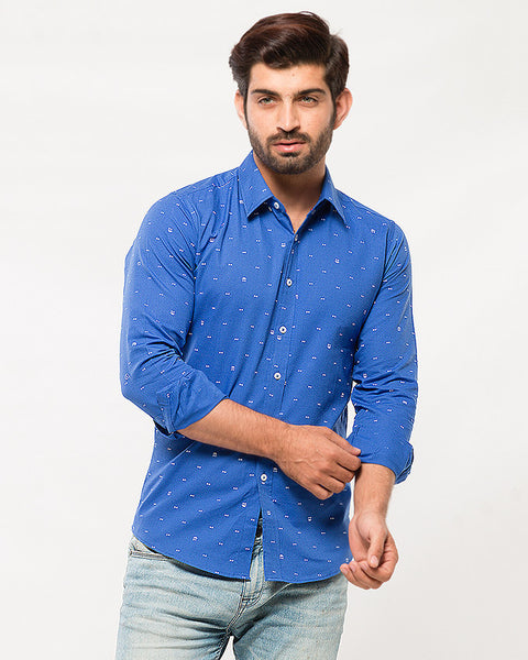 March Royal Blue Shirt with White Prints for Men