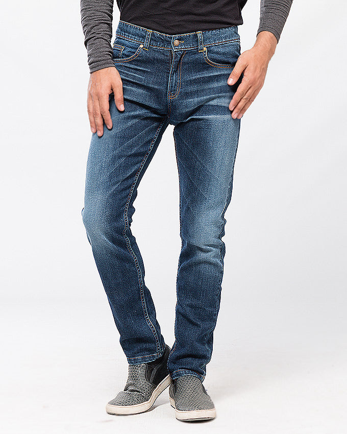 March Dark Blue Tapered Fit Jeans W Whiskers & Scrapping for Men