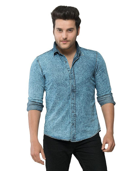 March Mid-Blue Acid Washed Shirt W Dark Blue Buttons for Men