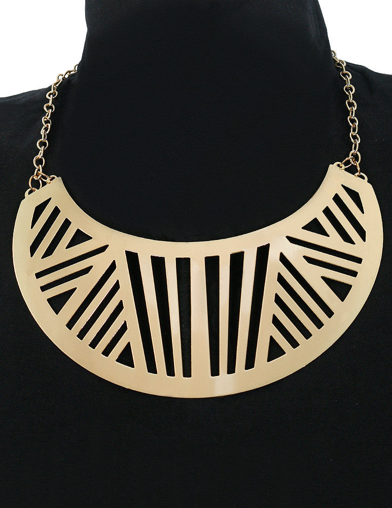 March Solid Gold Plated Egyptian Styled Choker Necklace for Women