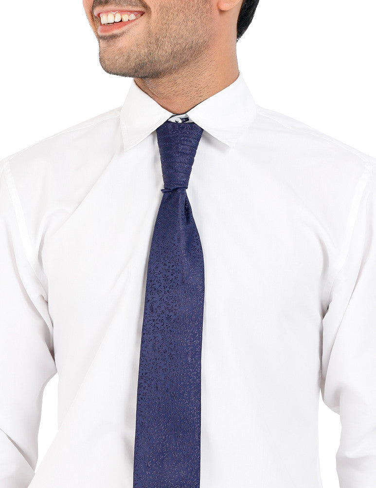 March Navy Blue Textured Tie (Pre-tied)