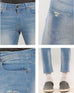 March Medium Blue Lightly Distressed Cropped Slim Fit Jeans for Men