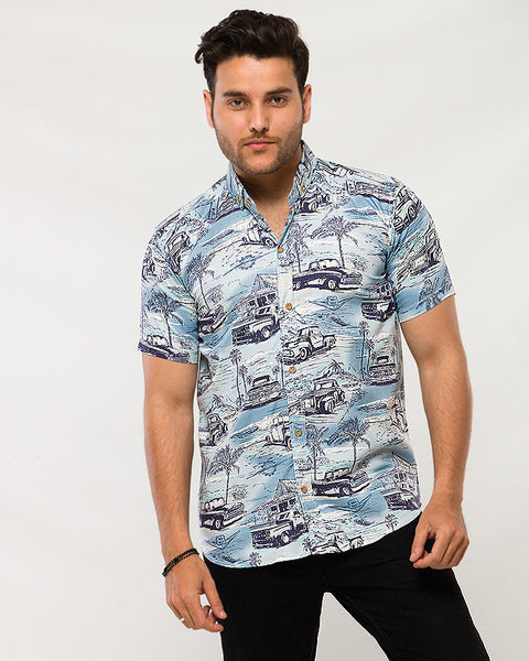 March Pickup Trucks & Huts Printed Soft Linen Blue Shirt with Half Sleeves for Men